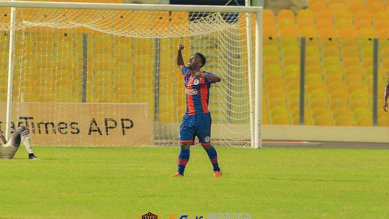 Baba Mahama delighted with his goal against Liberty Professionals in Legon Cities win.